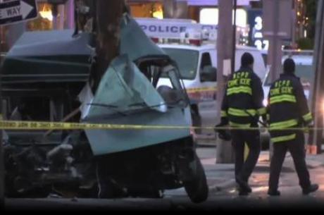 Deadly car accident in Elmont 4:15 Sunday Morning, left a mangled mess.