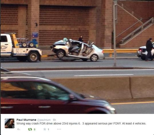 Wrong-way driver crash manhattan