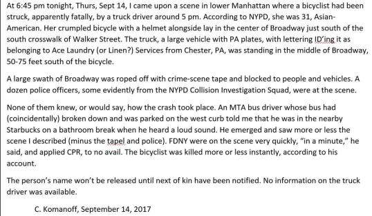 Cyclist struck in New York